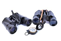 A J.H Steward Ltd pocket compass, together with a pair of modern Japanese 'Horizon' binoculars and a