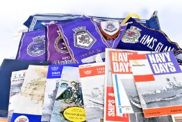 An assortment of Naval items, to include various pennants, various books/magazines, a collar and