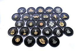 A collection of Rhodesian military resin plaques, each bearing a different badge, approx. 8cm