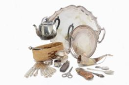 A collection of silver and silver plate and other items, including a three piece tea set, a white