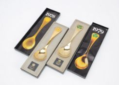 Two 1970s Danish silver gilt and enamelled year spoons by Georg Jensen, each boxed, 1978 and 1979