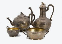 A good Four piece Victorian silver tea and coffee set by Walter & John Barnard, the tea and coffee