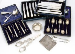 A small collection of Victorian and later silver and silver plate, including a cased set of six
