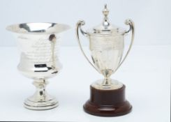 A George IV silver filled presentation goblet, bearing Latin inscription, together with a later