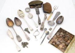 A collection of silver and silver plate and coins, including a silver berry tablespoon, a
