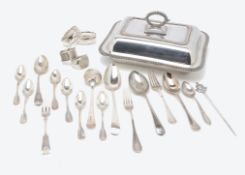 A collection of silver and white metal and silver plate, including a pair of Georgian silver