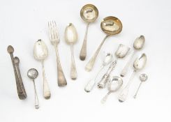 Thirteen items of Georgian and Victorian silver flatware, including two dessert spoons, a dinner