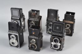 A Tray of TLR Roll Film 6 x 6cm Cameras, comprising Hacoflex, Halina-Prefect, Lubitel 2, Semflex