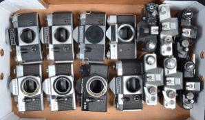 A Tray of Praktica SLR Camera Bodies, including Praktica Super TL (3), Electronic (2), EE2, Nova and