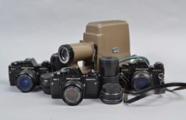 Praktica Electronic SLR Cameras and Lenses, a BC1 and a B200 both with Pentacon Prakticar 50mm f/1.8