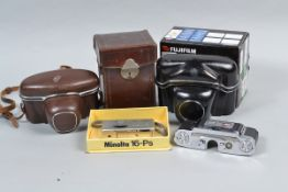 Cameras and Accessories, including a Minolta 16-PS subminiature camera with color filter set and