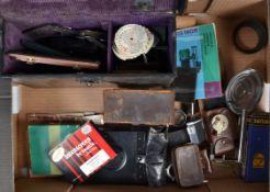 Photographic Accessories and Parts, including a Graflex Cut Film Magazine, a 14 x 9cm mahogany-