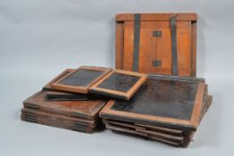 Wooden Double Dark Slide Plate Holders, approximately twelve DDS plate holders in half plate and
