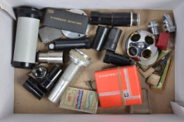 Microscope Related Parts including a prism, 49mm tall, eyepiece lenses, various glass slides and