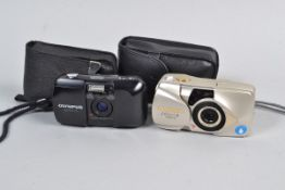 An Olympus mju-1 Compact Camera, a black Olympus mju-1 35mm camera with 35mm f/3.5 lens and maker'