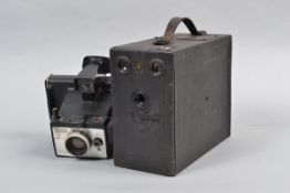 An Ensign Mascot No 3 Falling Plate Box Camera, quarter plate format, made by Houghtons Ltd circa