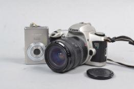 A Canon EOS 500 35mm SLR Camera, serial no. 2227948, mock titanium body G, shutter working, meter
