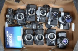 Praktica Cameras and Bodies, a Nova, with 50mm f/2.8 Domiplan lens, a BCA Electronic, with 50mm f/