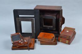 A Negretti & Zambra Wet Collodion Camera Body, 10 x 8in, dark mahogany, retail nameplate inscribed