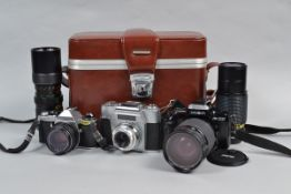 A Pentax ME and Other 35mm SLR Film Cameras, an Asahi Pentax ME with an SMC Pentax-M 50mm f/2