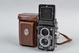 A Rolleiflex 3.5 MX-EVS K4B TLR Camera, serial no 1476496, button in aperture wheel disengages EV