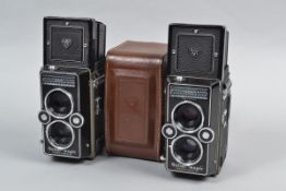 Two Rollei Magic TLR Cameras, serial no 2517993, body G-VG, shutter working, meter reacts to light