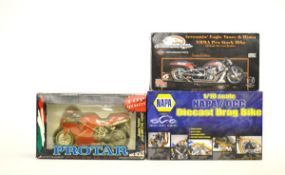 Two 1:9 scale motorcycle models, comprising a Screaming Eagle Harley Davidson, Protar Ducati 916