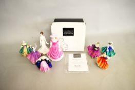 Seven Royal Doulton figurines, comprising Southern Belle HN 3244, Karen HN 3338, Sunday Best HN