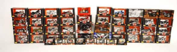 Forty Eight assorted motorcycle models, including 1:18 Maisto Harley-Davidson, 1:32 NewRay and 1: