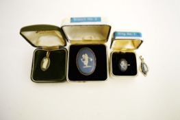 A small collection of Wedgwood Jasperware jewellery, including a silver ring, brooch, pendant, and a