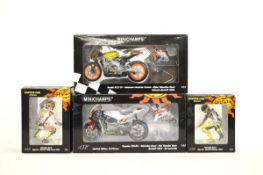 Two Minichamps Valentino Rossi Collection motorcycles with matching figurines, Honda RC211V Repsol
