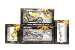 Two Minichamps Valentino Rossi Collection motorcycles with matching figurines, Yamaha YZR-M1 Camel