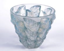 A Rene Lalique 'Mosaic' pattern opalescent vase, with moulded opalescent leaf decoration, marked '