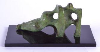 Eli Ilan (1928-1982) bronze sculpture of an abstract reclining figure, on a black plinth base,