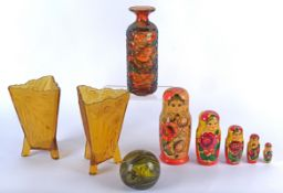 A flared Mdina glass vase with coloured trailing decoration, the base signed 'Mdina' and with