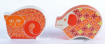 Two Carlton ware retro money banks in the form of animals, with psychedelic style designs, one a