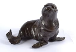 Rosalie Johnson (Contemporary British) a bronze study of a sea lion, a limited edition of which this