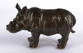 Rosalie Johnson (Contemporary British), a bronze study of a rhinoceros, a limited edition of which