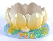 A Clarice Cliff for Royal Staffordshire Ceramics pottery bowl moulded as a water lily, 12cm x 22cm
