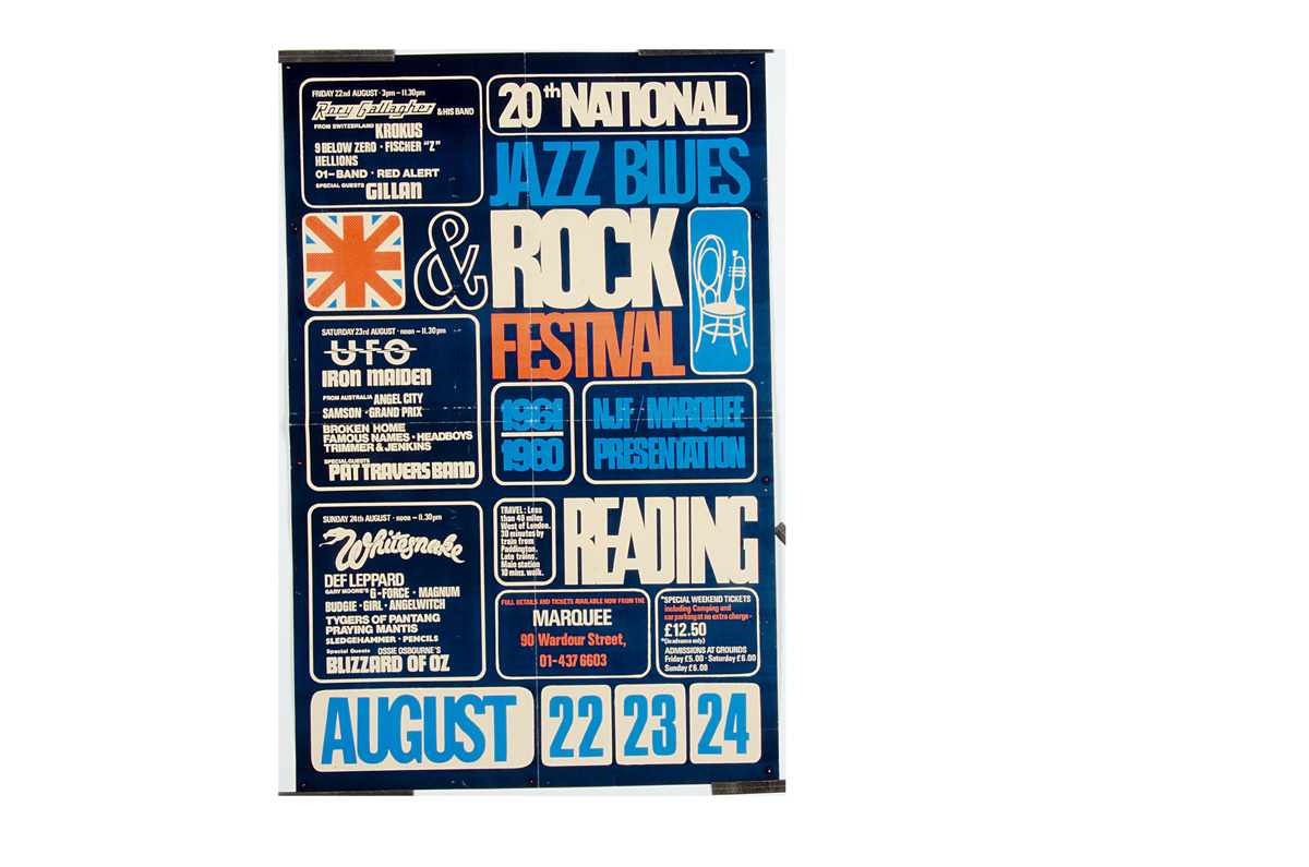 Reading Rock Festival Poster, Reading Rock Festival poster 1980, including Iron Maiden, Def Leppard,