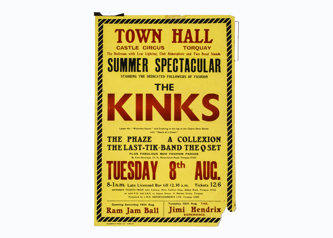 The Kinks / Jimi Hendrix Concert Poster, Poster for The Kinks gig at Town Hall Torquay 8th August