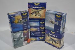 Corgi Aviation Archive 1:72 Scale WWII Axis Aircraft, nine boxed limited edition examples, including