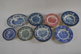 A collection of transfer printed plated and dishes including, blue and white red and white