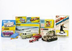 Corgi Toys, 420 Ford Thames Airborne Caravan, 154 Ferrari F1 Grand Prix Racing Car, 650 Concorde,