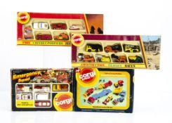 Corgi Juniors Gift Sets, 3014 Emergency Squad, 3101 Fire Set, 3100 Construction Set, 3024 Road
