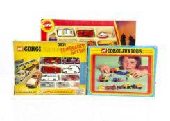 Corgi Juniors Gift Sets, 3101 Fire Set, E3024 Road Construction Gift Set, 3021 Emergency 999 Gift