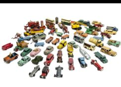 Playworn Dinky Toys, including Blaw Knox Bulldozer, Massey-Harris Tractor (2), Coles Mobile Crane,