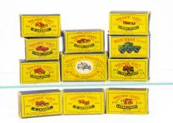 Matchbox Lesney 1-75 Series Empty Boxes, including 41 Jaguar D Type, 19 Aston Martin Racer, 30