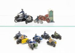 Dinky Toy & Other Motorcycles, including pre-war 43b R.A.C Motorcycle Patrol with 43a R.A.C Box,