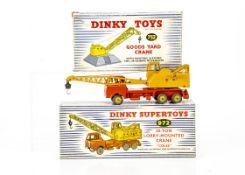 A Dinky Supertoys 972 Coles 20-Ton Lorry-Mounted Crane, yellow/orange body, two blue drivers, '